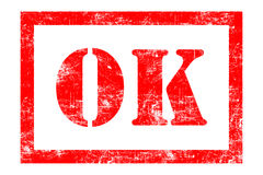 OK rubber stamp. In red ink Royalty Free Stock Photography