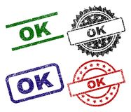 Damaged Textured OK Seal Stamps. OK seal prints with distress surface. Black, green,red,blue vector rubber prints of OK title with unclean surface. Rubber seals royalty free illustration