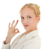 OK sign. Woman in business clothing show OK sign Stock Photos