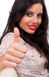 OK sign. Beautiful girl smiling and showing ok sign Royalty Free Stock Images