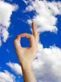 Ok  sign. 'ok'  sign on cloudy blue sky background Royalty Free Stock Image