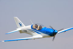 OK sign from BlackShape Prime. The fastest Ultra Light Motorized (ULM) plane on the planet - cruising at 160 MPH at very low altitude Royalty Free Stock Photos