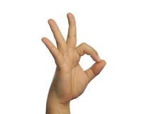 Ok sign hand gesture isolated Royalty Free Stock Photography