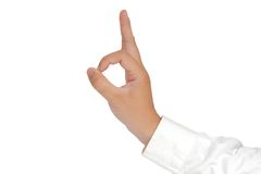 OK Sign Hand Gesture Isolated on White Stock Images