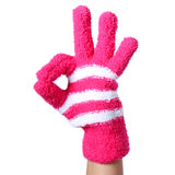 Ok sign. Hand in Knitted Gloves isolated Stock Photography