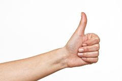 Ok sign made by human hand. OK Hand Sign Made by woman on white background Royalty Free Stock Images