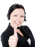 Ok sign showed by woman with headphone Stock Photography