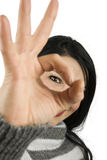 Ok sign woman eye Stock Photo