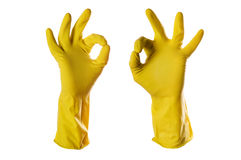 Ok sign yellow rubber gloves Stock Images