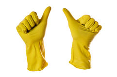 Ok sign yellow rubber gloves Royalty Free Stock Photography