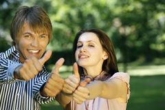OK sign from young couple Royalty Free Stock Photography