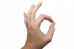 ok tecken för hand Royaltyfri Fotografi