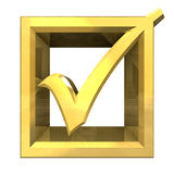 Ok tick in gold isolated - 3D Royalty Free Stock Photography
