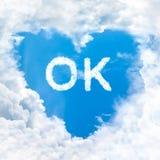 Ok word on blue sky Royalty Free Stock Image