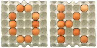 OK word from eggs in paper tray Stock Photos