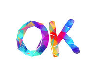 OK. Word of  vector triangular lettters Stock Images