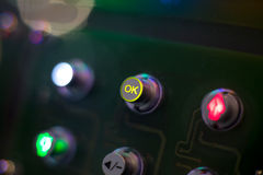 OK yellow button of the control panel Stock Image