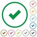 OK zarysowane płaskie ikony Zdjęcie Stock