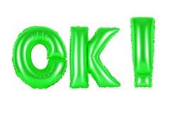 Ok, ok, zielony kolor Obraz Royalty Free
