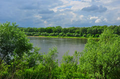 The Oka river in Tarusa, Kaluga region, Russia. Summer day on the Oka river in Tarusa, Kaluga region, Russia Stock Photos