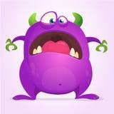 Okaleczający śmieszny kreskówka potwór Halloweenowa wektorowa ilustracja purpurowy potwora charakter Projekt dla druku, majcheru  ilustracja wektor