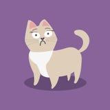 Okaleczający mały beżowy kot na fiołkowym tle również zwrócić corel ilustracji wektora ilustracja wektor