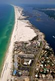 Okaloosa Island (Santa Rosa Island) in Fort Walton Beach. Aerial image of Okaloosa Island (Santa Rosa Island) in Fort Walton Beach and Destin, Florida Royalty Free Stock Photo