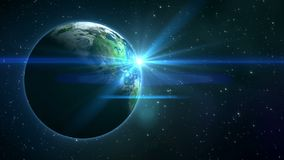 Okamgnienie gwiazdy i planety ziemia w przestrzeni ilustracji