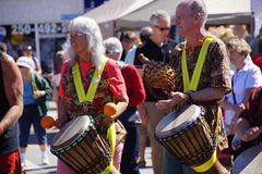 Okanagan Drum group performs Stock Images