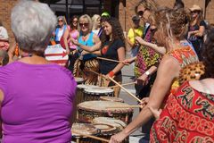 The Okanagan Drum group performs Royalty Free Stock Photography