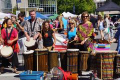 The Okanagan Drum group performs Stock Photos