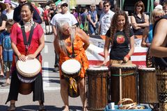 The Okanagan Drum group performs Royalty Free Stock Images