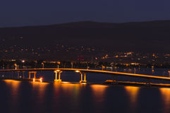 Okanagan Lake Bridge Kelowna BC Canada at Night Stock Photography