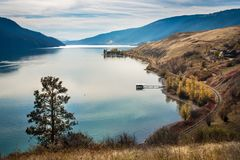 Okanagan lake kelowna British Columbia Canada. View of okanagan lake peachland British Columbia Canada near Kelowna Stock Image