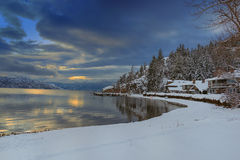 Okanagan Lake Kelowna British Columbia in Winter. A snowy scene of Okanagan Lake near Kelowna British Columbia Canada in Winter Stock Photo