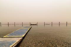 Okanagan lake. Peaceful waters. Smoke in the air covering the horizon, Peachland BC stock photos