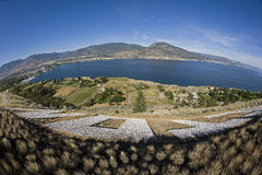 Okanagan Lake and Penticton with mountains Stock Photos