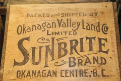 Okanagan Valley-landmark for fruit events- vintage front cover stock images