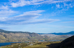 Okanagan Valley. A view of the Okanagan Valley showing Osoyoos Lake in British Columbia, Canada and the agricultural land surrounding the lake which is known for Royalty Free Stock Photography