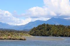 Okarito盐水湖, Okarito,南岛,新西兰 免版税图库摄影