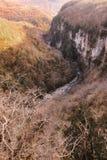 Okatse-Schlucht im Winter, Georgia Stockbild