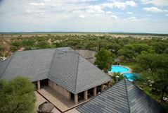Okaukuejo rest camp, view from the tower. Etosha N Stock Photo