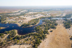 Okavango Delta. An aerial landscape of the magnificent Okavango Delta twisting and turning as it flows and splits Royalty Free Stock Photo