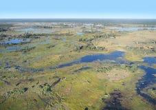 Okavango Delta. Aerial view of the Okavango Delta in Botswana, Africa Stock Image