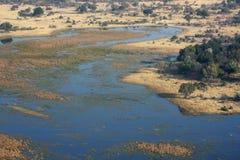 Okavango delta från skyen. Royaltyfri Fotografi