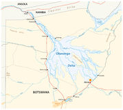 Okavango delta map Stock Photography