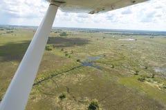 Okavango delta som beskådas från ett plant Arkivfoto