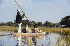 Okavango Trip with Dugout Canoe in Botswana Royalty Free Stock Photos