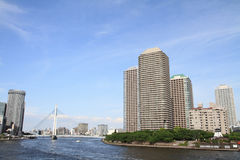 Okawabata rzeczny miasto 21 w Tokio Fotografia Royalty Free