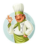 微笑的厨师展示okay 库存照片